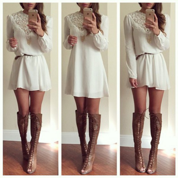 white lace belted mini shift dress with grey leather open toe boots