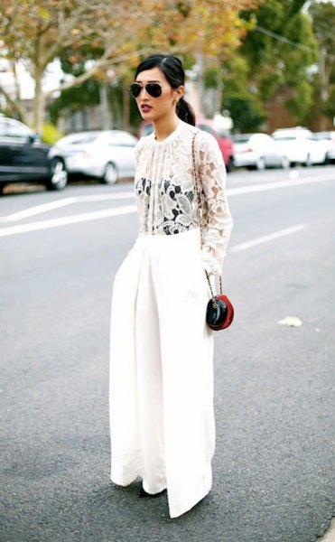 white lace blouse with wide leg pants