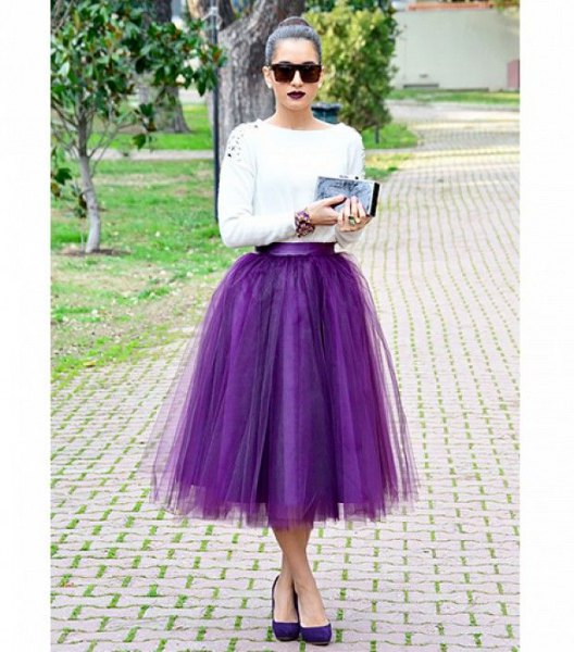white long sleeve top with purple tulle midi skirt