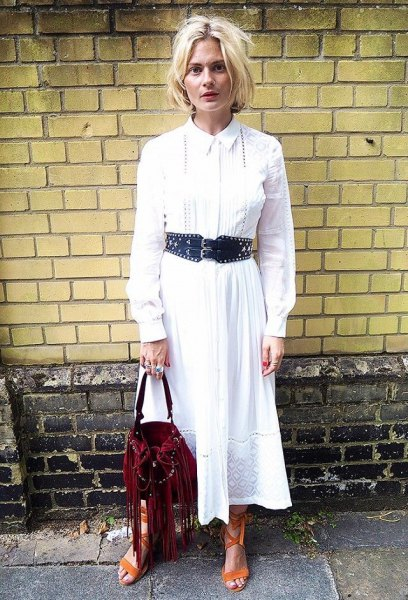 white maxi flared button up shirt dress with black belt
