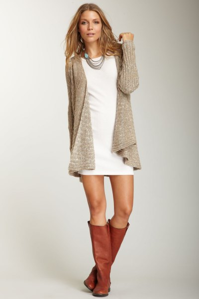 white mini shirt dress with grey ribbed sweater cardigan