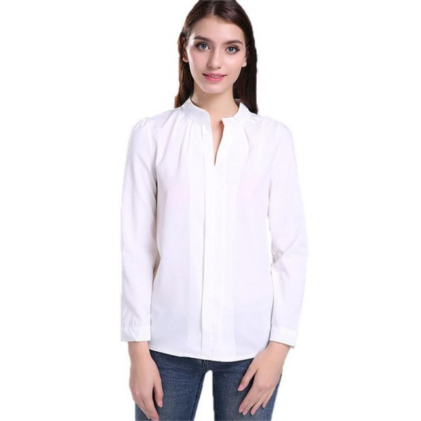 white no collar button up shirt with skinny jeans