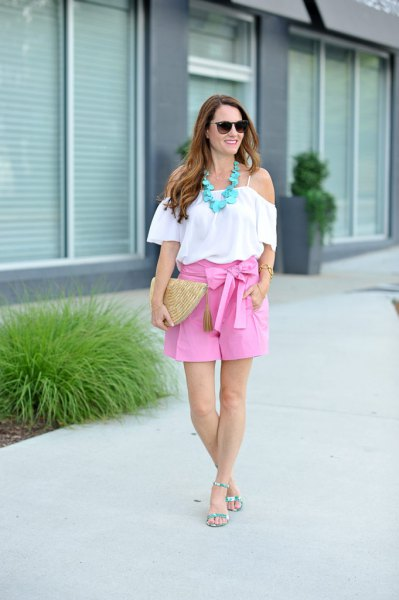 white off the shoulder ruffle blouse with pink ribbon bow flowy shorts