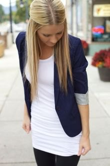 white tank tunic top with navy half sleeve blazer