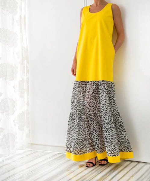 yellow and leopard print color block maxi tank dress