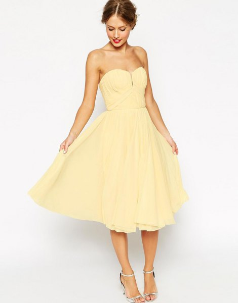 yellow strapless sweetheart fit and flare midi dress