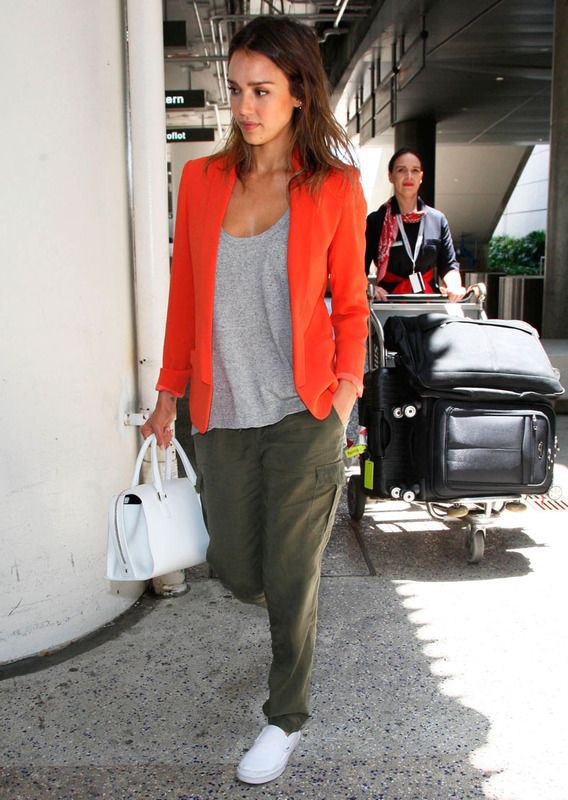 best blazer with grey scoop neck t shirt and green cargo pants