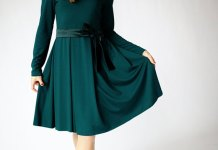 best green long sleeve dress outfit ideas