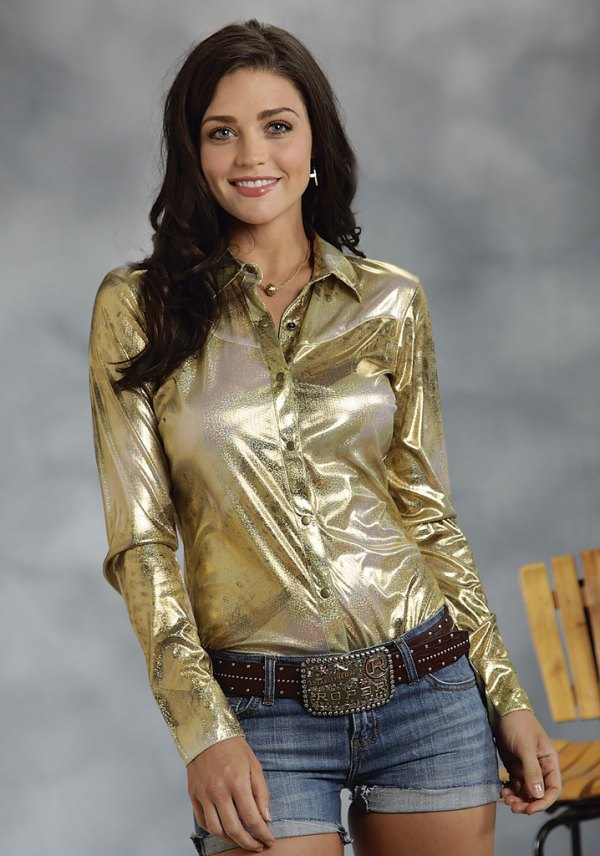 best metallic shirt outfit ideas for ladies