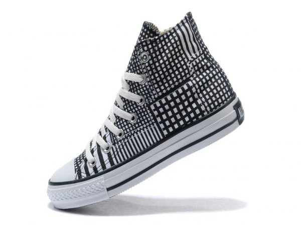 black and white checkered high top canvas sneakers