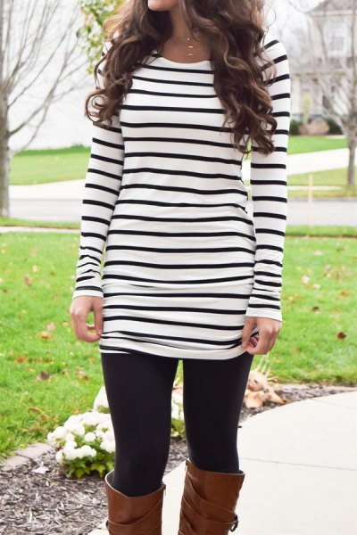 black and white striped long sleeve tunic tee with leggings