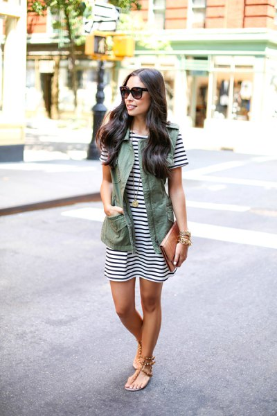 black and white striped mini shirt dress with olive green vest