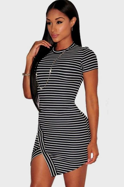 black and white striped short sleeve mini bodycon dress