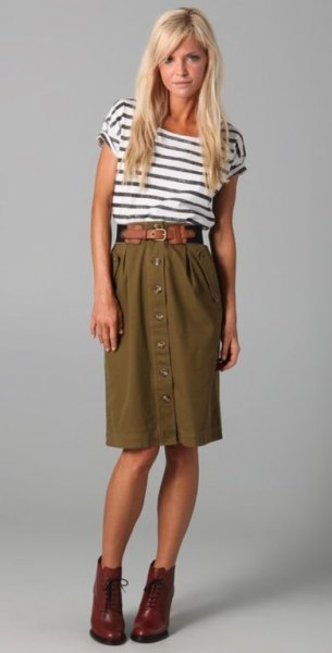 black and white striped t shirt with high waisted olive green knee length skirt