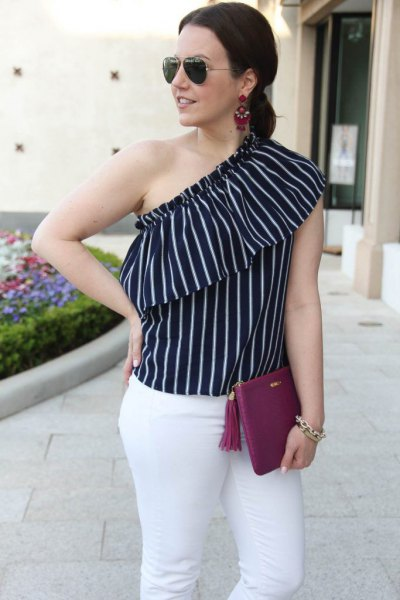 black and white vertical striped one shoulder sleeveless blouse