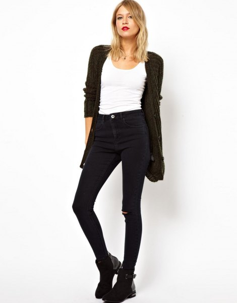 black cardigan with white tank top and tall jeans