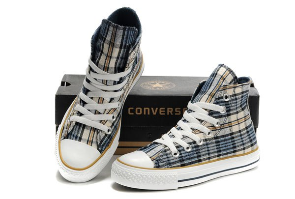 black grey and orange high top plaid canvas sneakers