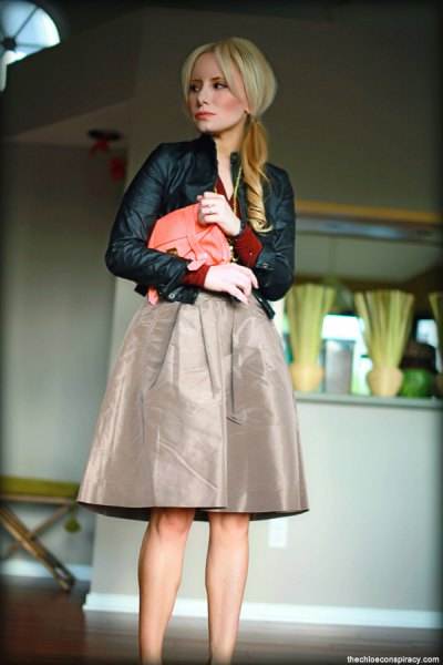 black leather jacket with grey midi taffeta skirt
