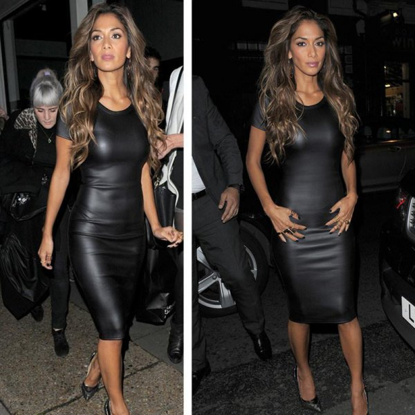 black leather midi short sleeve bodycon bandage dress