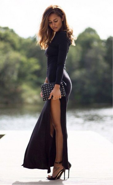 black long sleeve fit and flare maxi side slit dress