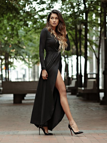 black long sleeve scoop neck maxi flared slit dress