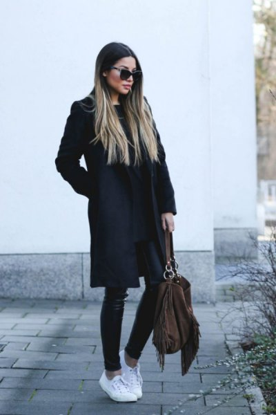 black long wool coat with leather leggings