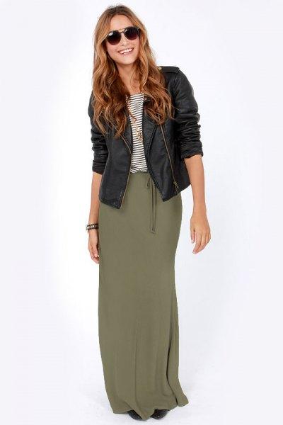 black moto leather jacket with olive maxi skirt