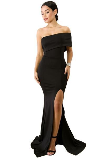 black off the shoulder floor length flowy slit dress