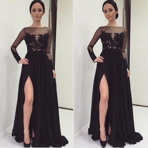 black semi sheer lace floor length slit dress