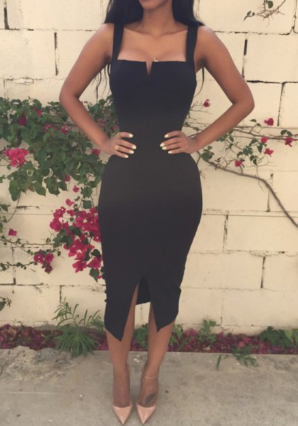 black square neckline midi bodycon dress