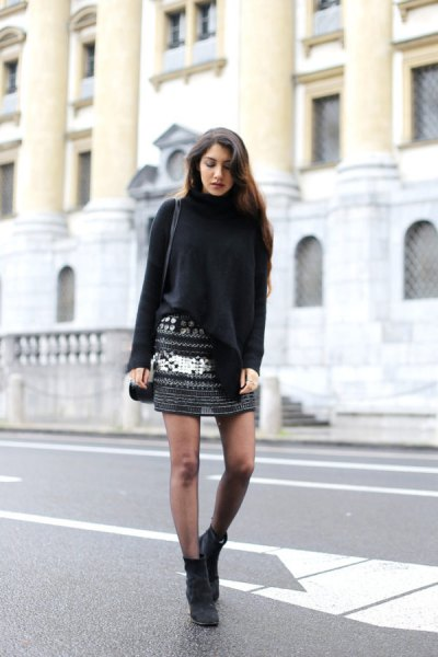 black turtleneck sweater with patterned knit mini skirt
