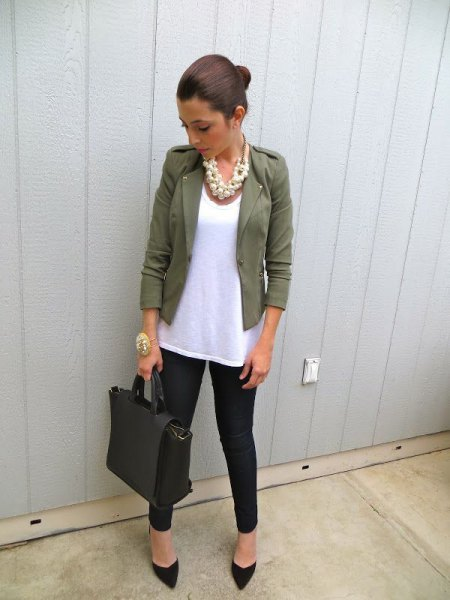 blazer with white long tank top and black jeans