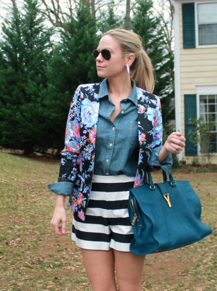 blue and black floral blazer with chambray shirt and striped flowy shorts