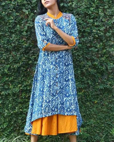 blue and white tribal printed long tunic top with mustard yellow dress