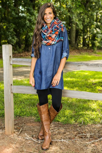 blue coated chambray shirt with over the knee brown leather boots