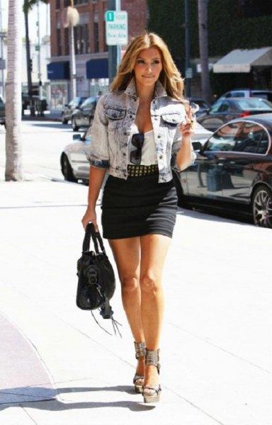 blue washed denim short sleeve jacket with black mini skirt