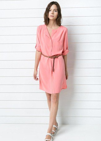 blush belted knee length shirt dress with white slide sandals