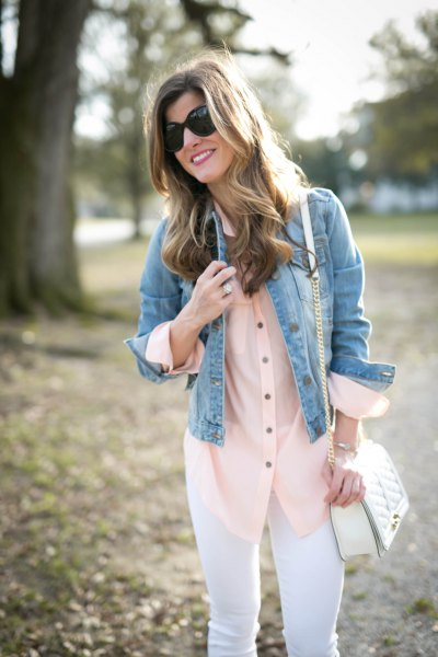 blush pink button up blouse with blue denim jacket