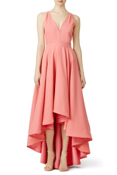 blush pink v neck high low maxi cocktail dress