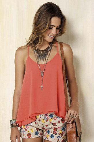 blush tank top with pale pink printed mini shorts