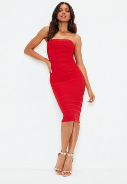 bright red tube bandage midi dress with white heels