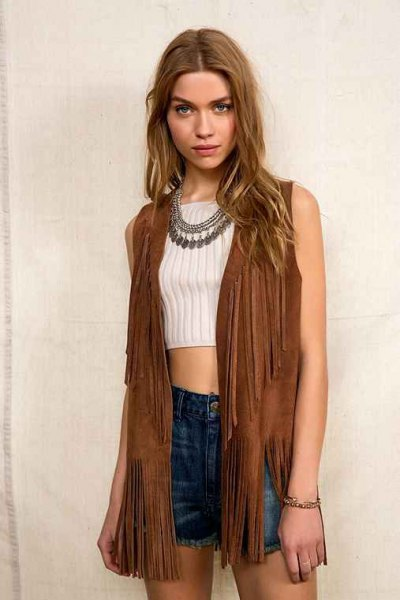 brown hippie vest with white ribbed cropped form fitting sweater