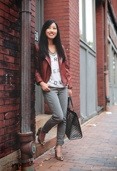 brown petite leather jacket with white v neck printed blouse