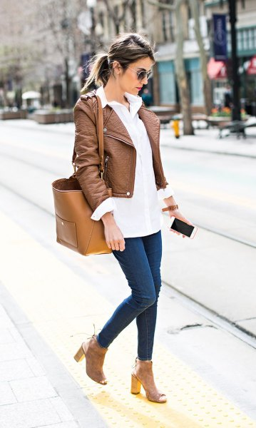 brown short leather jacket with white long button up shirt
