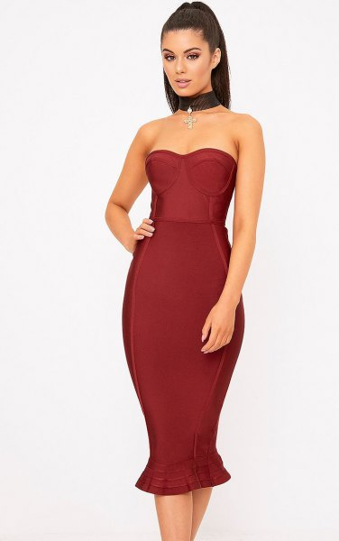 burgundy fit and flare mermaid midi dress with choker