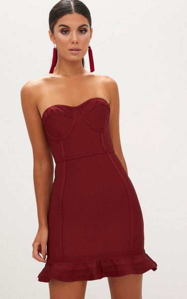 burgundy strapless fit and flare mini ruffle hem dress