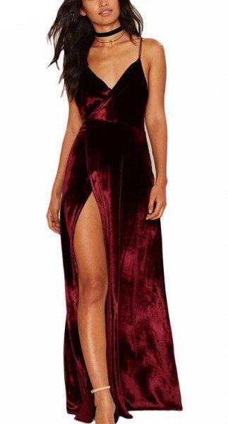burgundy velvet slit maxi dress with black choker