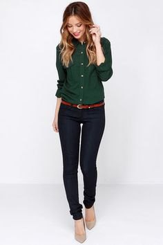 button up shirt with black tapered leg jeans