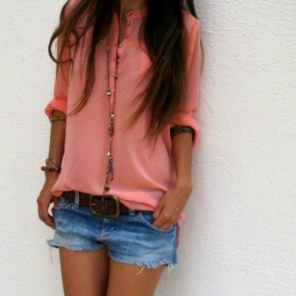 button up shirt with blue mini denim shorts and black belt