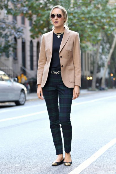 camel blazer with black tee and navy grey plaid pants